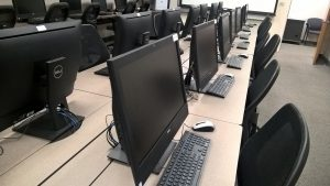 computer screens in a computer lab
