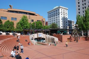 downtown Portland park on a sunny day