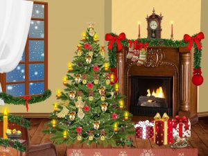 living room with fireplace, Christmas tree, and presents