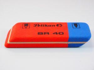 red and blue eraser