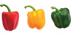 red pepper; yellow pepper; green pepper