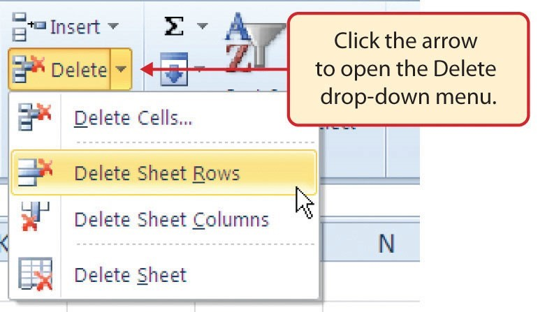 Delete button drop-down menu for deleting cells, rows, columns and sheets.