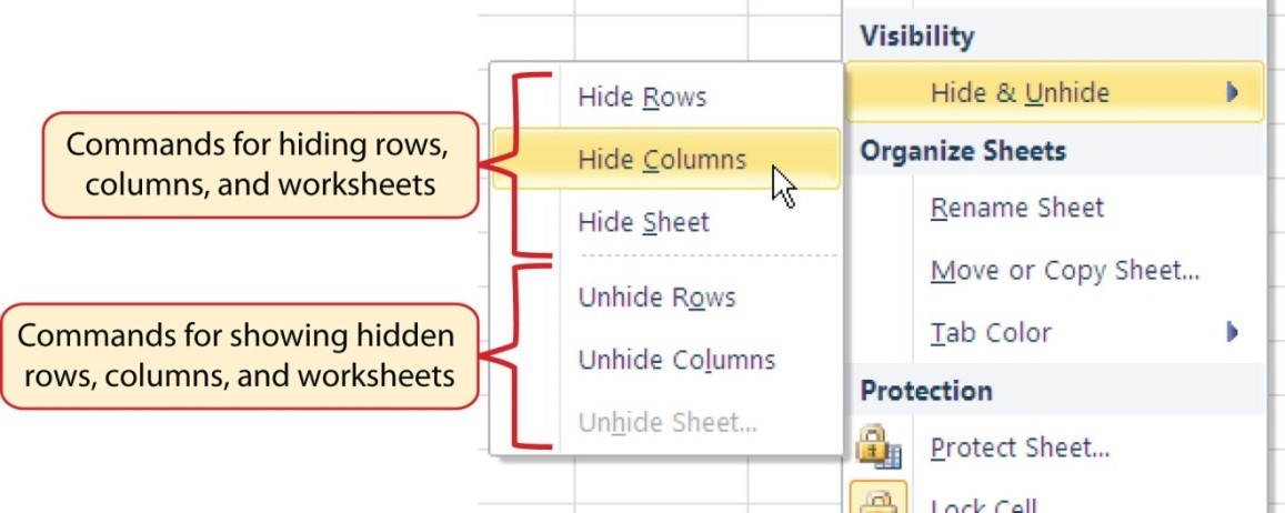 Hide & Unhide drop-down menu with commands for hiding and showing rows, columns, and worksheets.