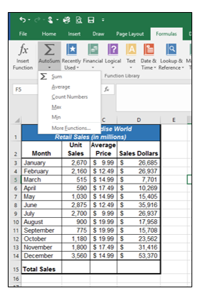 AutoSum Drop-Down menu in Formulas tab: Sum, Average, Count Numbers, Max, Min, and More Functions sub-menu.