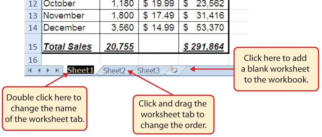 Worksheet tabs at bottom of workbook can be dragged to change order, and named or renamed.