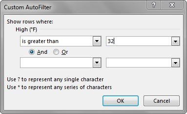 "Custom AutoFilter dialog box: ""Show rows where: High (°F) is greater than 32°"" entered."