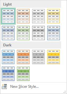"Slicer Styles box with ""Light"" and ""Dark"" categories."