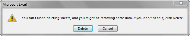 "Warning Message Box alerting there is no ""undo"" when Delete is chosen."