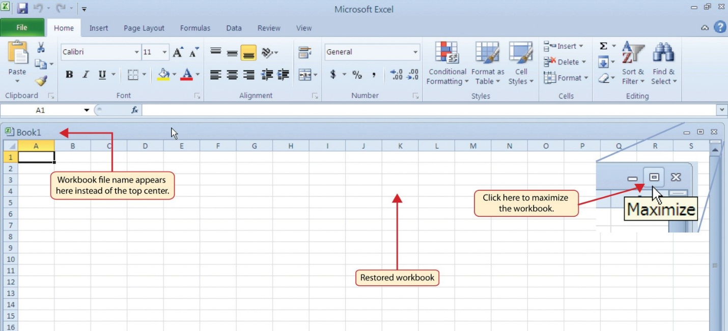 Worksheets An Excel File That Contains One Or More Worksheets 1 overview of microsoft excel beginning maximize icon workbook title in top left hand corner not center as figure 3 restored worksheet