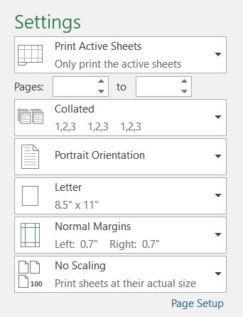 Press Ctrl + P to reach Print Preview, then tab to settings for pages to print, collation, orientation, paper size, margins, and scaling.