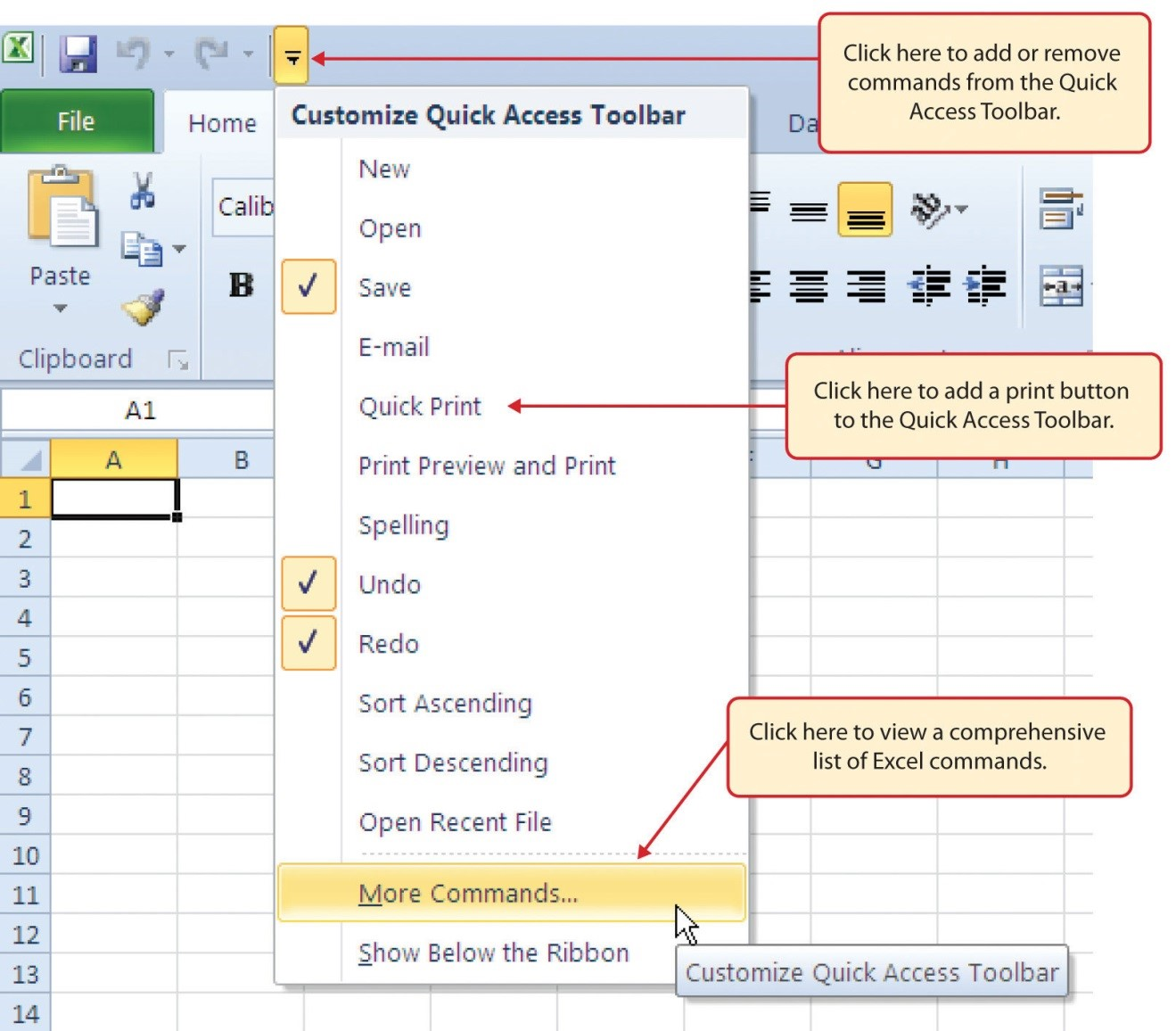 Customize Quick Access Toolbar with frequently used commands. Open Quick Access Toolbar via keyboard: Alt, F, T, arrow down. Via Keyboard to open Quick Access Toolbar: Alt, F, T, arrow down.