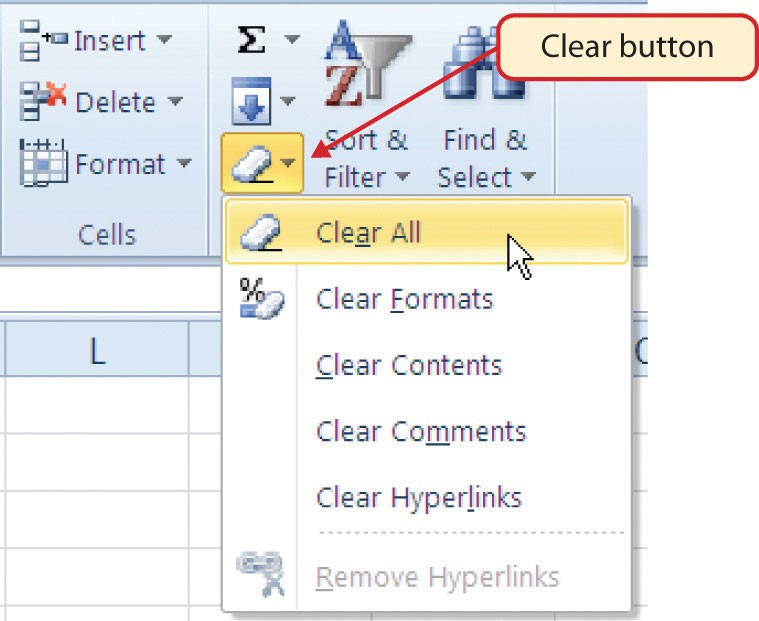 Clear button and Clear Command drop-down menu: Clear All, Formats, Contents, Comments, Hyperlinks and Remove Hyperlinks.