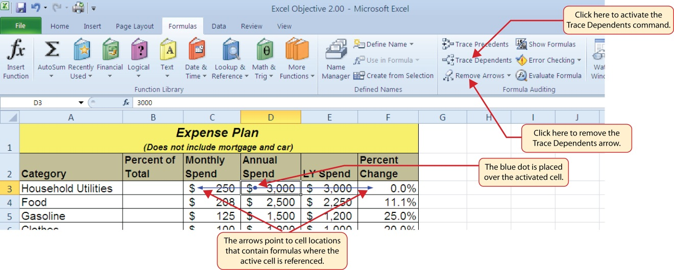 Formula tab open to activate Trace Dependents and blue dot is placed over activated cell. Arrows point to cell locations that contain formulas where active cell is referenced.