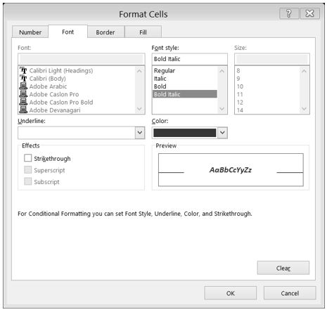Format Cells dialog box with Bold Italic selected in Font style box and Red selected in Color box.