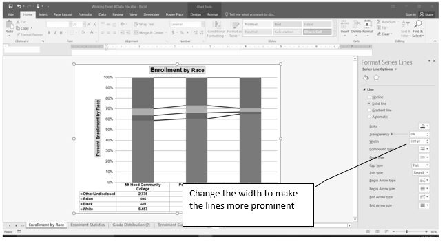 Series Lines Added to Stacked Column chart. To make lines more prominent, use Format Series Lines Pane to change Width.