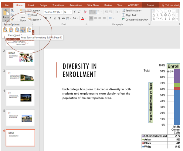 "Home tab in PowerPoint to Paste drop-down menu, Paste option ""Keep Source Formatting & Link Data"" selected."