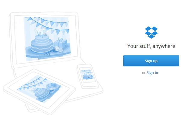 Dropbox home page image