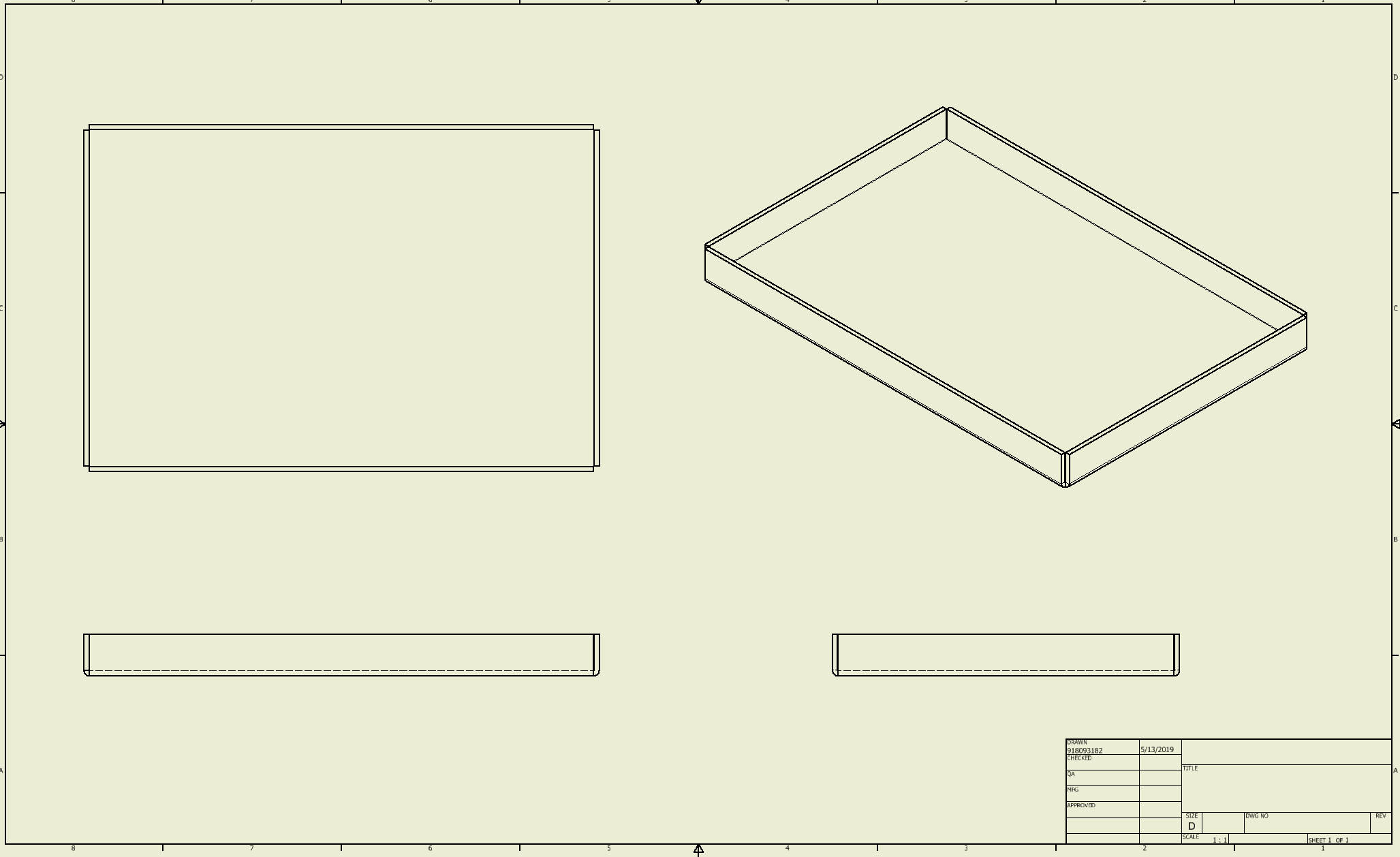 This is an orthographic drawing showing front, right & top views of a pan with an included perspective view.