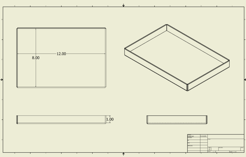 "This is an orthographic drawing showing front, right & top views of a pan with an included perspective view. Added to this view are the dimensions of 8"" & 12"" to the top view and 1"" to front view."