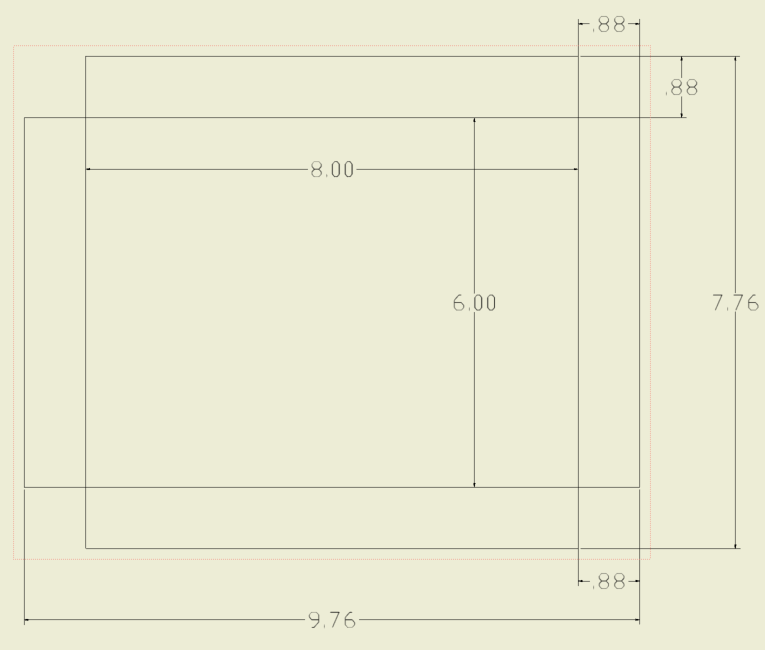 "plan view of bottom of pan with dimensions .88"" for corner notches and 8"" x 6"" for inside dimension of bottom."
