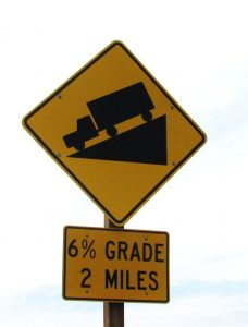 traffic sign road grade of 6%.