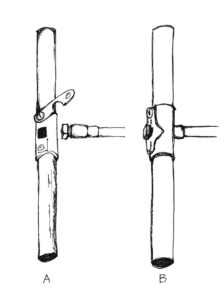 Illustration showing square end of borer bit fitting into the handle.