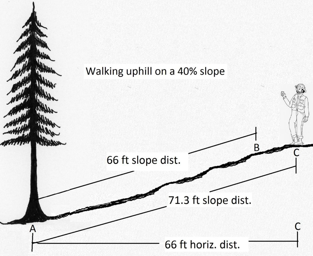 a slope distance of 66 feet is closer to the tree than 66 horizontal distance if on a steep slope