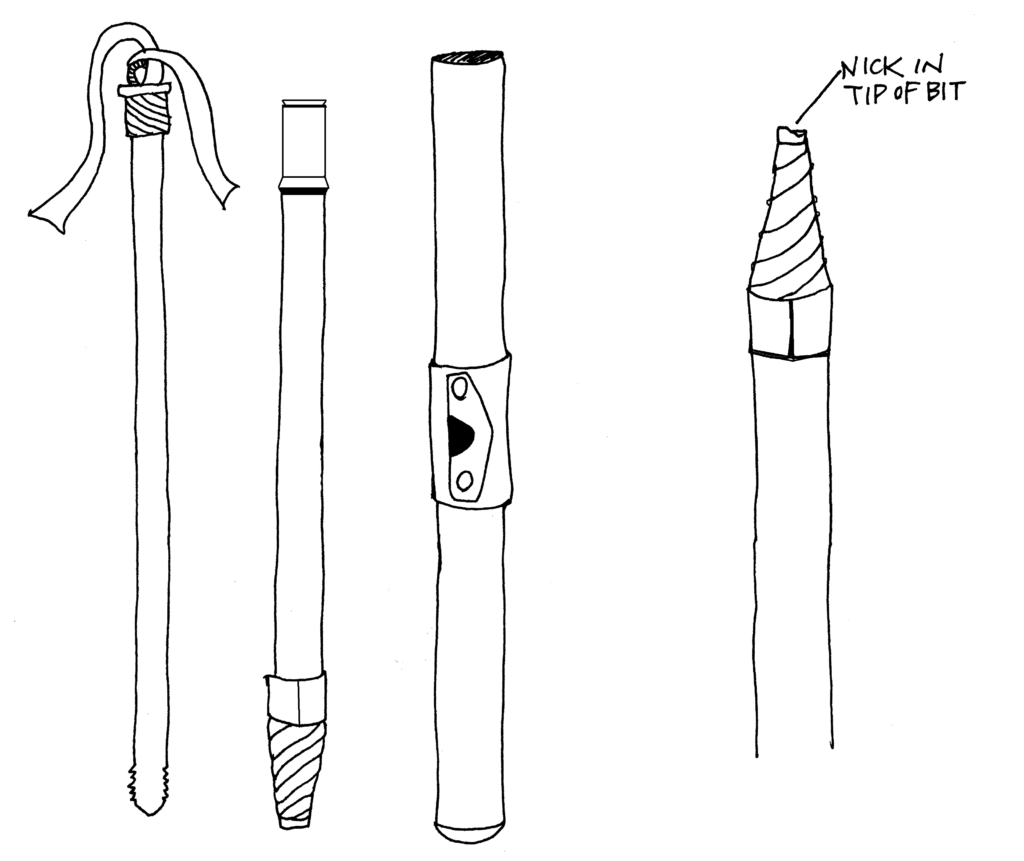 illustration showing nicked tip of boring bit