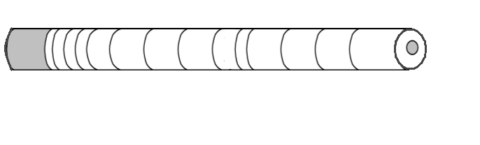 cylindrical drawing of core sample with curved stripes drawn as annual rings