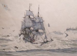 A drawing of a ship, the Tonquin, crossing the Columbia Bar.