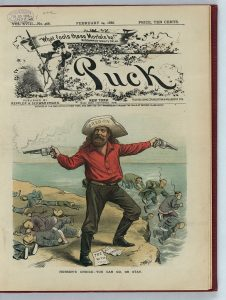 """Print publication with color cartoon. A white man with a hat labeled """"Oregon"""" shoots Chinese men, some dead and others leaping off a cliff to escape"""