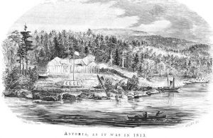 """Black and white drawing of Fort Astoria set against a tree-filled landscape.  Below the image, text reads, """"Astoria as it was in 1813."""""""