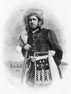 A portrait of mountain man Joseph Meek wearing a fur hat.