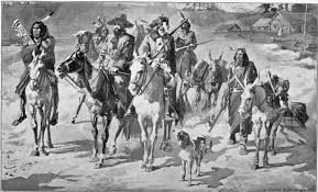 Black and white drawing of a Native American and settler men traveling on a road together with horses and donkeys.