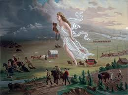 """Painting, """"American Progress"""" by John Gast.  A woman in a white gown floats over an open field above travelers, covered wagons, and animals."""