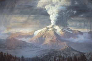 Painting of Mount Mazama is erupting in the distance with a huge cloud of ash above it.