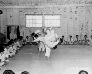 Photo of two people practicing martial arts with on-lookers seated on the floor around them
