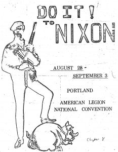 """Flyer. An outline of a man holding a gun with his foot on a pig. Text at top reads """"Do it! to Nixon"""""""