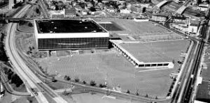 Black and white aerial photo of the Memorial Coliseum