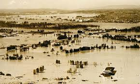 Photo of Vanport after it has flooded. The landscape is covered in water with treetops and some roofs visible