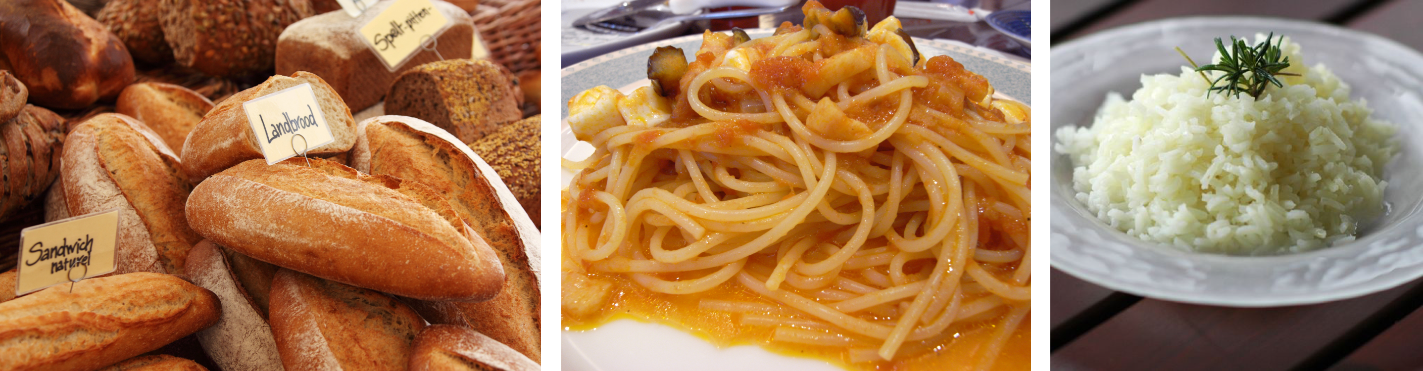 Photos of grain-based foods, from left to right: a display of bread in a bakery, a plate of spaghetti with sauce, and a bowl of plain rice topped with herbs.