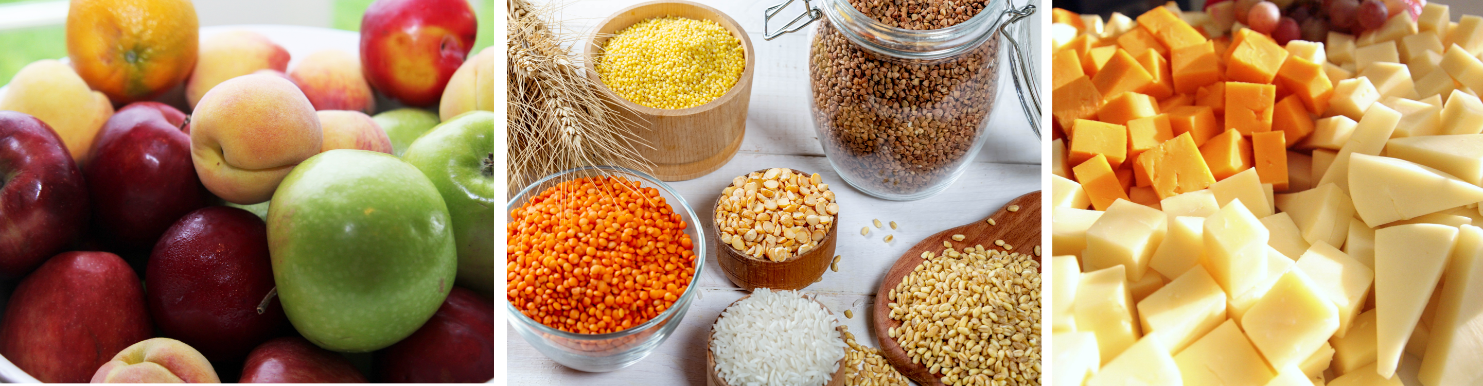 3 photos of whole food sources of carbohydrates, from left to right: a fruit bowl with apples, peaches, and oranges; an assortment of grains and legumes, including lentils, rice, and peanuts; and an assortment of cheeses cut into small pieces.