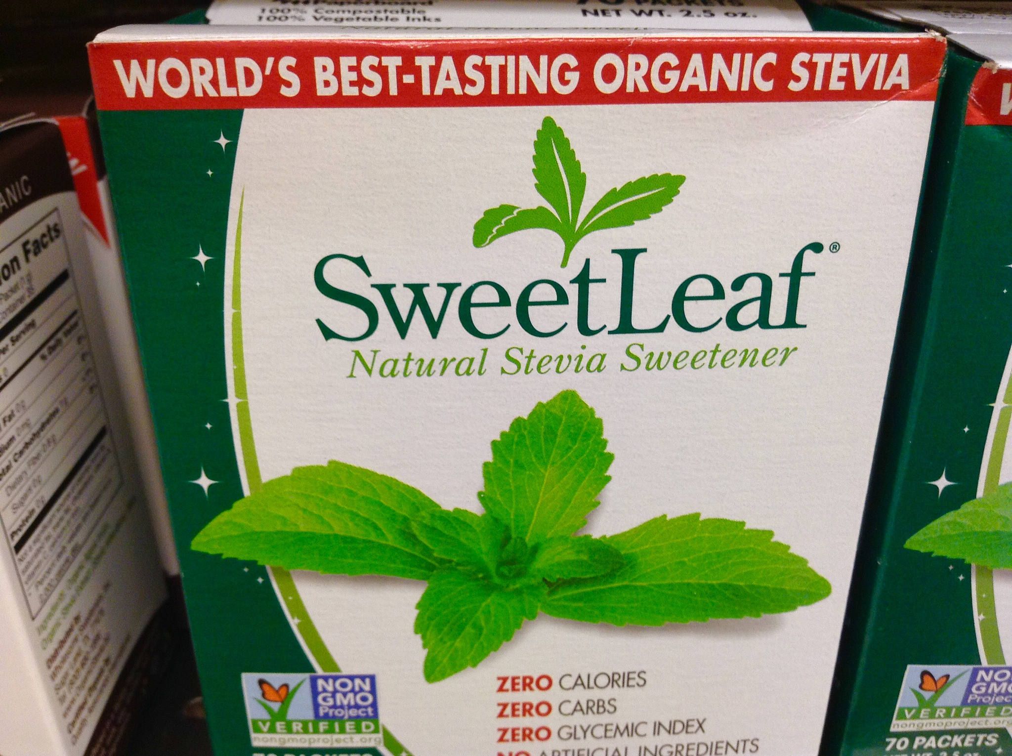"""Photo shows a box of SweetLeaf stevia sweetener, with front-of-package labels """"world's best-tasting organic stevia,"""" """"Natural Stevia Sweetener,"""" """"ZERO calories, ZERO carbs, ZERO glycemic index,"""" as well as a Non-GMO Project l"""