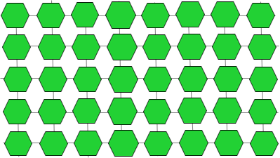 image is a schematic showing multiple green hexagons, each representing a glucose molecule, arranged in rows with lines linking them both vertically and horizontally, as in a