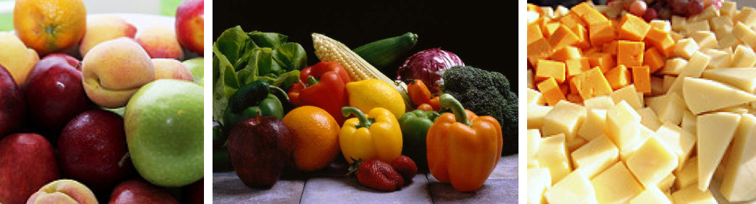 3 photographs show examples of whole foods that are sources of naturally-occurring sugar. From left to right: mixed fruit, mixed vegetables, and a pile of cubes and wedges of cheese