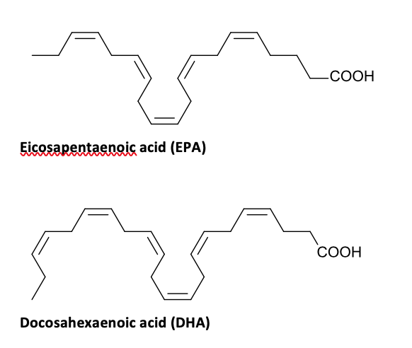 The simplified chemical structure of EPA and DHA are shown.