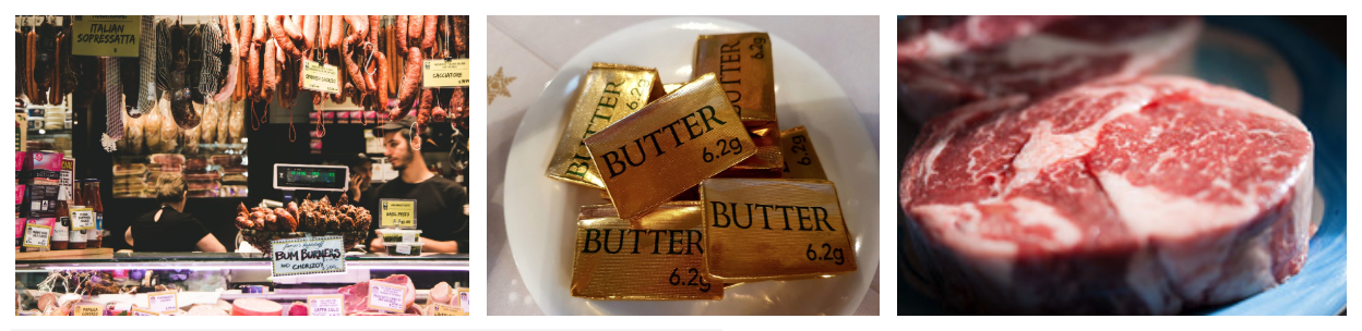 Examples of foods high in saturated fat are shown. At left is a picture of a meat market. At center is a bowl of individually wrapped cubes of butter. At right is a raw steak on a plate.