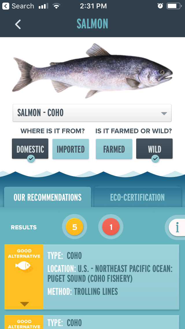 A screenshot from the Monterey Bay Aquarium Seafood Watch app shows their recommendations for domestic wild-caught salmon, with a photo of a coho salmon.