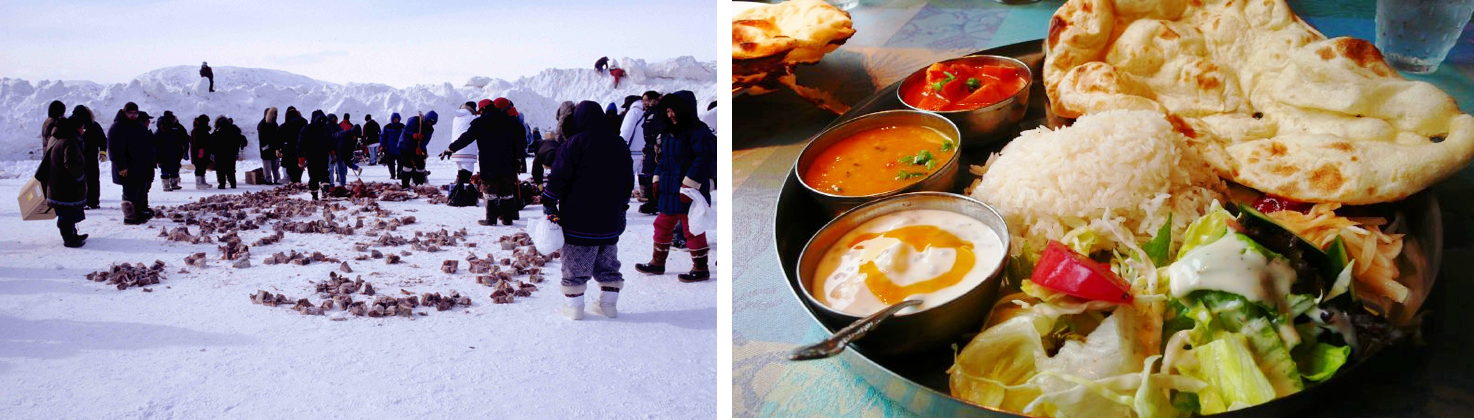 Two photos depicts dietary differences in human cultures. The photo on the left shows Inuit families sharing frozen, aged walrus meat. Their traditional diet is very dependent on meat and high in both protein and fat. On the right is a traditional vegetarian meal in India, representing dietary patterns dependent on grains, legumes, and vegetables that provide adequate, but not excess, levels of protein.