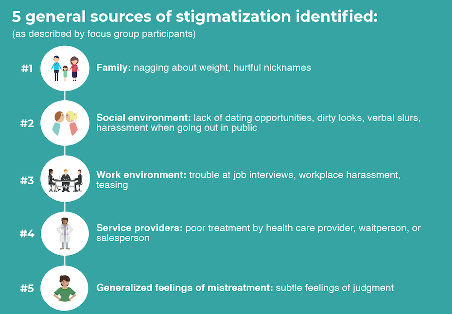 A chart is shown listing 5 categories of weight stigmatization identified in a focus group study. First is family (nagging about weight, hurtful nicknames). Second is social environment (lack of dating opportunities, dirty looks, harassment when out in public). Third is work environment (trouble at job interviews, workplace teasing). Fourth is service providers (poor treatment by health care provider or waitperson or salesperson). Fifth is generalized feelings of mistreatment (subtle feelings of judgment).